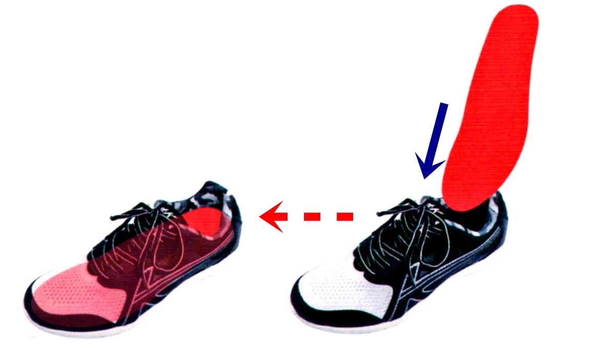 カットしたインソールを靴に入れます