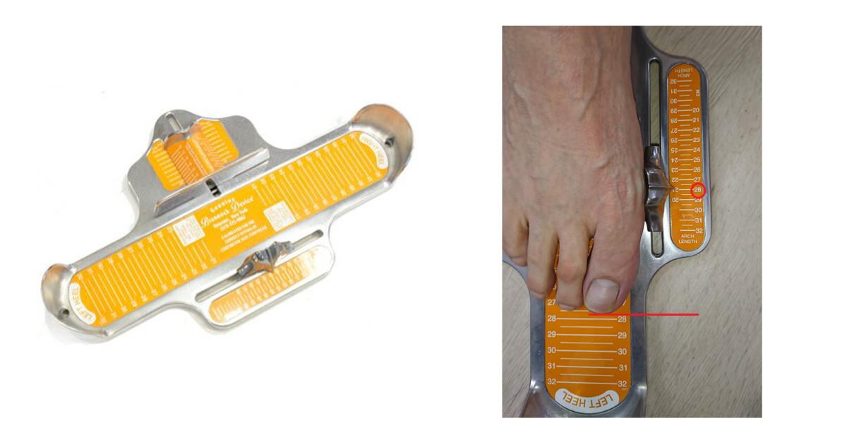 ブランノックデバイスで足のサイズを測る
